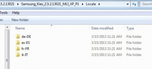 Folder structure for the language files used by Samsung Kies.
