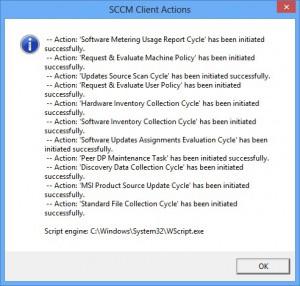 SCCM Client Actions output VBS
