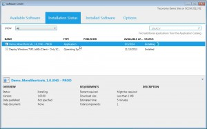 After a policy refresh the application is visible in the 'Software Center' and will be installed..