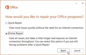 Perforn online repair.