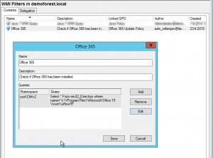 WMI Filter to make sure that this policy is only applied to machines with Office 365 installed.