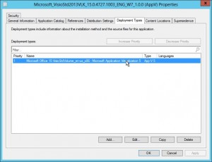 The deployment type for Visio AppV.